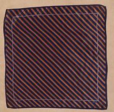 """Vintage Echo silk blend scarf, 21"""" square, diagonal stripe, black, amber, gray"""