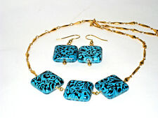 Gemstone Necklace Set gold chain and Blue and Black Square Stones