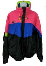 Columbia Ski Snowboard Mens Neon Retro Colorful Jacket Coat Size L With Hood