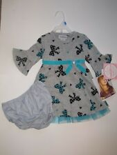 NWT Girls YOUNGLAND Gray Aqua Ribbon Bow Dress with Diaper Cover Size 24 Months