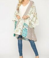 New Gigio By Umgee Kimono M Medium Mint Green Floral Prairie Ruffle Cottagecore