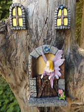 Fairy Barn Timber Door With Butterfly and 2 Windows,