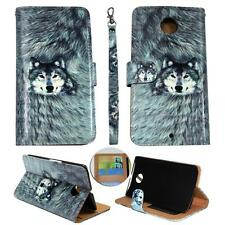 For Motorola Nexus 6 (2014) Ck Wallet Snow Wolf Cover Case Uni Leather