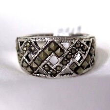 925 STERLING SILVER  MARCASITE WIDE BAND  RING SIZE 10