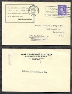 5449 - WINNIPEG 1954 Slogan on Postcard to Vancouver. 4c Karsh. Wall-Irons Co