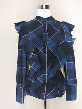 NWT Maison Cinqcent 500 Women's Plaid Fringe Top Size M Blue/Black Boho Western=