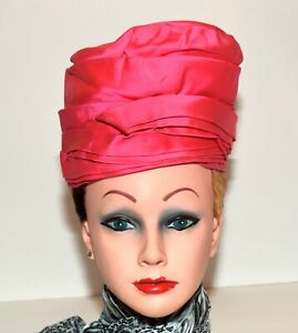 Vintage 1960s Rose Pink Satin Layered Womens Turban Hat Size XS to S Made in USA