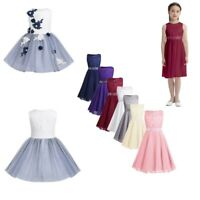 Flower Girl Embroidered Tutu Dress Baby Princess Party Wedding Tulle Formal Gown