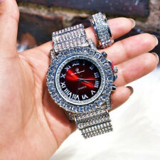 Bling Metal Fashion Watch & Ring Combo Set Men Hip Hop Iced Lab Diamond Red Dial