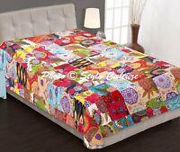 Indian Patchwork Kantha Quilt Bedding Bedspread Coverlet Bed Sheet Cover Single