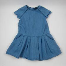 Gap Kids Girls Dress Chambray Blue Tunic Zip Back 100% Cotton Size XS