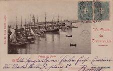 # CIVITAVECCHIA: UN SALUTO - VEDUTA DEL PORTO - 1900