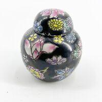 Vintage Chinese Miniature Porcelain Ginger Jar with Lid Floral Oolong Tea