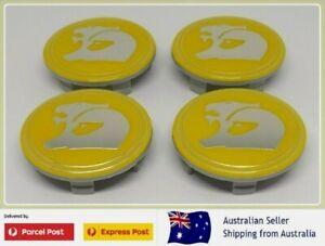 HSV Wheel Centre Caps Set Yellow Holden 63mm VZ VE VF GTS R8 Commodore