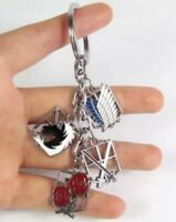 "Attack On Titan Survey Corps Anime Metal Keychain 4 Pieces 2"" US Seller"
