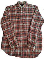 RALPH LAUREN CLASSIC FIT Men's L/S Button Down Shirt Red Brown Plaid Size Large