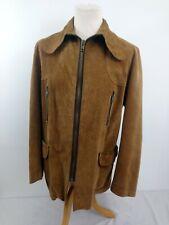 "Vintage Suede Jacket Tan 60s/70s Big Collar Medium (Pit to Pit 22"") Mod Hippy"
