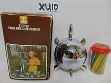 New listing Vintage Irvinware Chrome Turtle Hors D'Oeuvre Server Toothpick Holder In Box