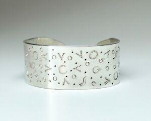 "Vintage Sterling Silver Southwest Santa Fe Style 1"" Wide Cuff Bracelet 48 Grams"
