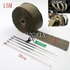 Titanium Exhaust Header Heat Pipe Wrap Tape Turbo 15m x 50mm + 5 Ties Motorcycle