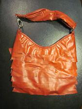 burnt red-orange ruffle layer handbag purse by CHATEAU