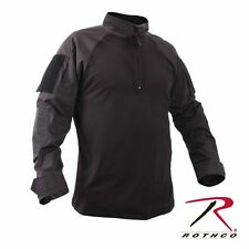Black Military 1/4 Zip  Heat Resistant Tactical Combat Long Sleeve Shirt 99010 M