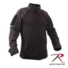 Black Military 1/4 Zip  Heat Resistant Tactical Combat Long Sleeve Shirt 99010 M