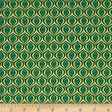 Rhapsody In Blue Metallic Golden Eye Green/Lime Cotton Quilting Fabric FQ