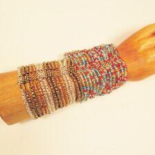 Set of 2 Red Blue Gold Multi Strand Handmade Cleo Stretch Seed Bead Bracelets