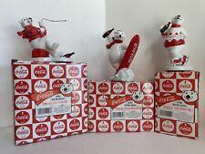 Coca Cola Ceramic Polar Bear Figurines W/Boxes Lot Of 3 Mint