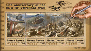Sierra Leone Military Stamps 2015 MNH Vietnam War Helicopters Aviation 4v M/S