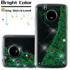 For Motorola Moto E4 (XT1762) - Green Glitter Stars Liquid Quicksand Skin Case