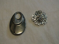 Collectible Silver Tone Scarf Clip Set 2 Filigree Signed Western Germany NICE