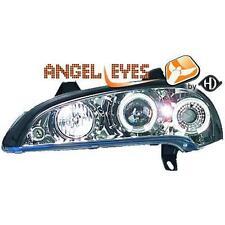 Coppia fari fanali anteriori TUNING OPEL TIGRA 1994-00 cromati anelli ANGEL Eyes