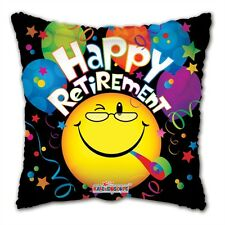 """18"""" Happy Retirement with Happy Face Mylar Foil Balloon Party Decoration Gifts"""