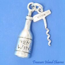 Heavy Wine Bottle And Corkscrew 3D .925 Solid Sterling Silver Charm MADE IN USA