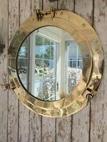 "20"" Brass Porthole Mirror ~ Nautical Maritime Wall Decor ~ Ship Cabin Window"
