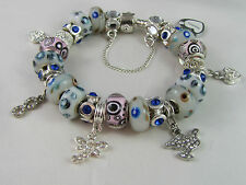 """SWEET 925 STAMPED SILVER 20cm EUROPEAN STYLE CHARM BRACELET """" MERRY PLAYGROUND """""""