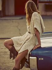 FREE PEOPLE Tulum Nights Cable Tunic Dress Top Chunky Ivory Hoodie XS/S $298