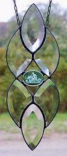 Bleiverglasung Facetten- Fensterbild / Suncatcher mit Glas- Gemme in Tiffany