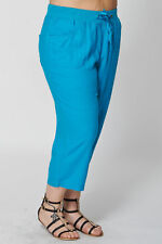 Linen Blend Loose Fit Trousers Plus Size for Women