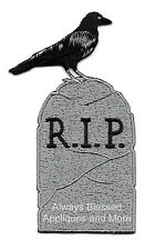 Tombstone - Raven - Halloween - RIP - Embroidered Iron On Applique Patch