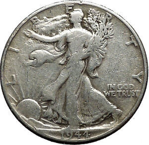 1944 WALKING LIBERTY Half Dollar Bald Eagle United States Silver Coin i44717