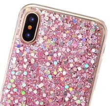 iPhone X / XS - HARD TPU RUBBER GEL CASE COVER PINK SHINY GLITTER SEQUIN BLINGS
