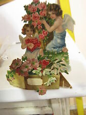 Vintage Two Little Angles on a Valentine Day Card Embossed Pop Out 3D Die Cut