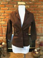 VTG 90s COURTNEY Stretch Brown Fitted Layering Blazer Jacket sz 6P Petite