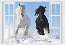 Horses & Snow Window View Color Wall Sticker Wall Mural Print