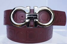 Salvatore Ferragamo Mens Red Belt Logo Size 34 Gancini Leather Gift