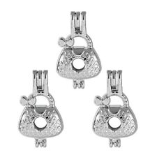 5X Silver Plated Women's Handbag Pearl Cage Locket Pendant For Diy Necklace