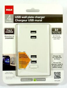 WP4UWR  RCA Wall Plate Charger with 4 USB Ports, 2x 2.1 A for ipad Fast Charge